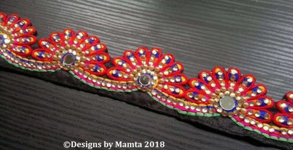 Red Black Peacock Feather Trim