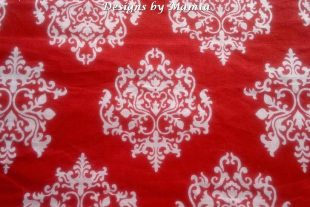 Red Damask Indian Block Print Fabric