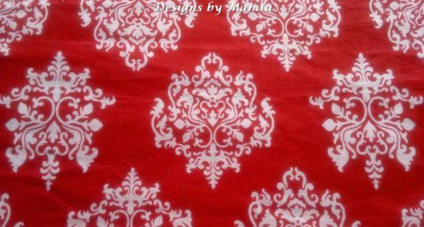 Red Damask Indian Block Print Fabric
