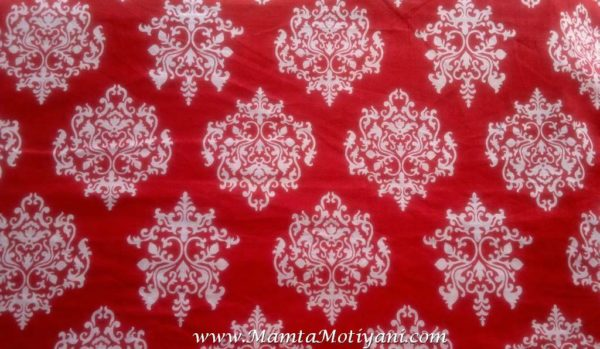 Red Damask Print Fabric