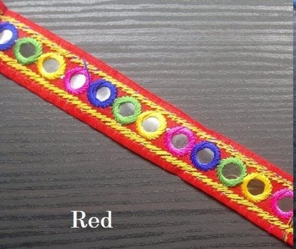 Red Embroidered Trim