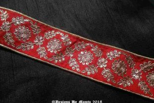 Red Gold Embroidered Sari Trim