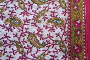 Red Green White Sari Fabric
