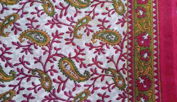 Red Green White Sari Fabric