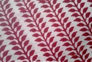 Red Leaves Block Print Fabric