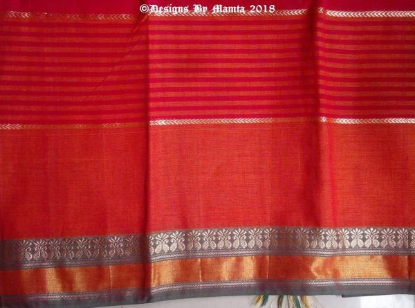 Red Orange Dual Tone Indian Sari Fabric