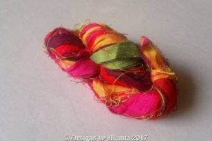 Red Plumeria Sari Silk Yarn Ribbon