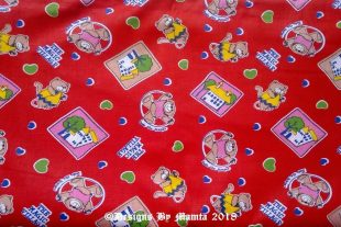 Red Teddy Bear Children Nursery Fabric