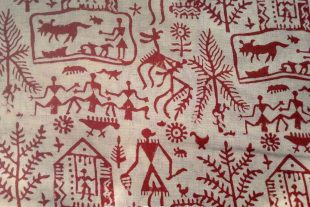 Red Tribal Warli Print Indian Fabric