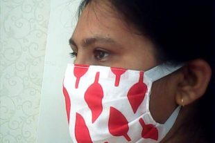 Red White Face Mask