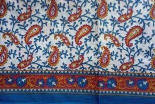 Red Yellow White Sari Fabric