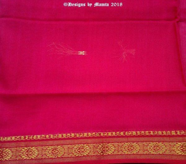 Rose Pink Poly Cotton Ilkal Saree Fabric