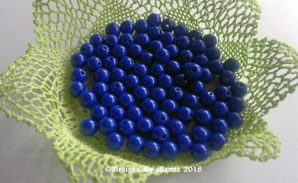 Round Blue Glass Beads