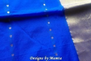 Royal Blue Sari Fabric By The Yard