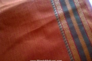 Rust Brown Indian Ilkal Sari Fabric