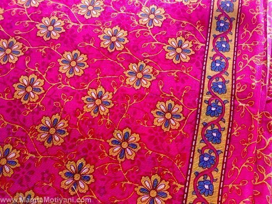 Shocking Pink Floral Sari Fabric By The Yard Unique Saree
