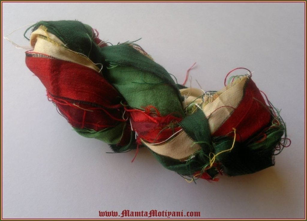 yarn christmas colors sari silk ribbon