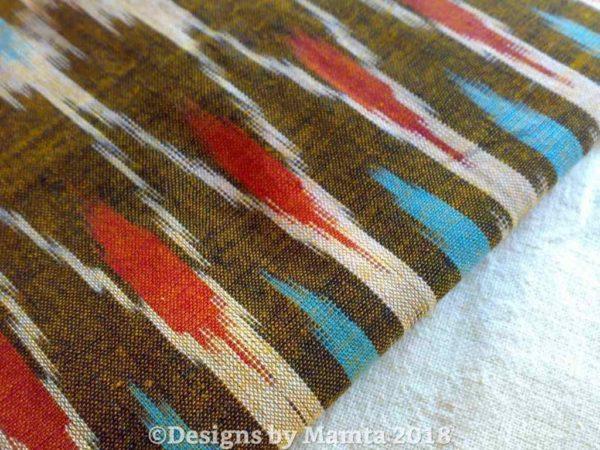 Sepia Blue Salmon Ikat Fabric