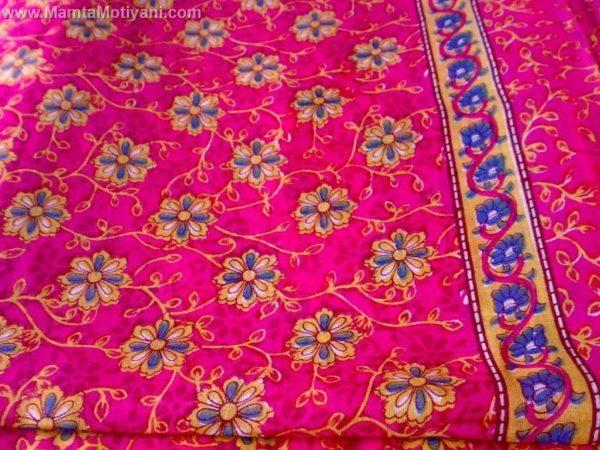 Shocking Pink Floral Sari Fabric