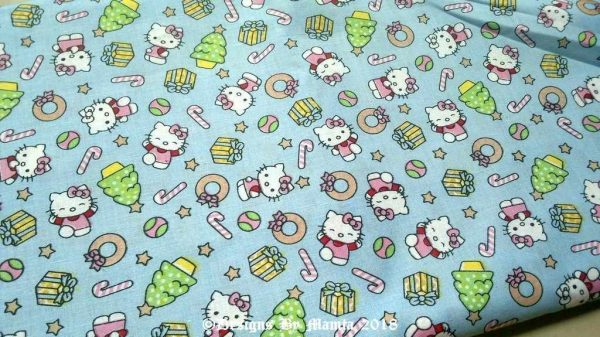 Sky Blue Cat Print Quilting Fabric