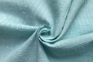 Sky Blue Cotton Lurex Stripes Fabric