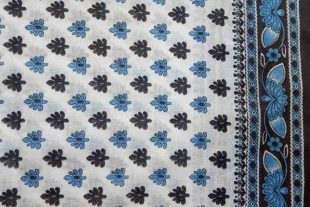 Sky Blue Cotton Sari Fabric