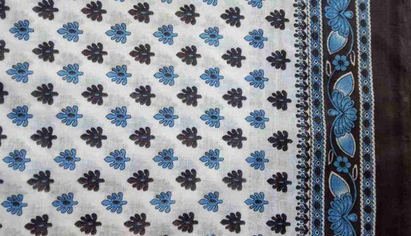 Sky Blue Cotton Sari Fabric