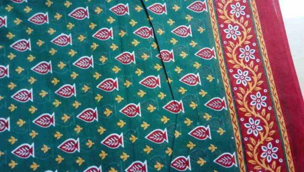 Teal Blue Cotton Sari Fabric