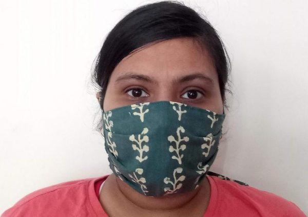 Teal Blue Floral Face Mask