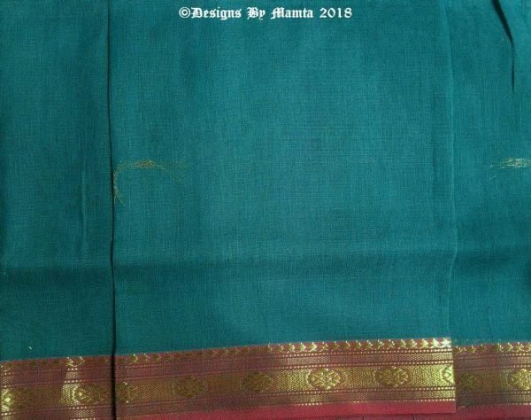 Teal Blue Indian Ilkal Cotton Saree Fabric