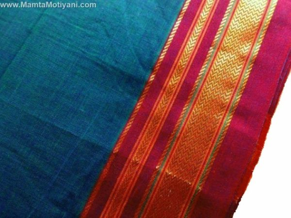 Teal Blue Indian Sari Fabric By The Yard