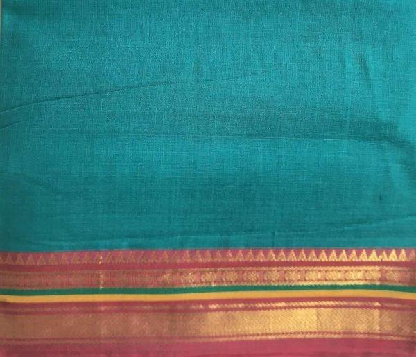 Teal Blue Red Gold Sari Fabric