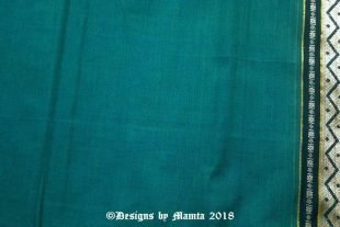 Teal Green Ilkal Cotton Saree Fabric