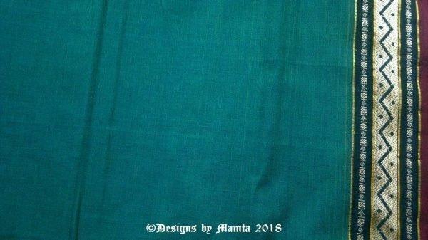 Teal Green Ilkal Cotton Saree Fabric