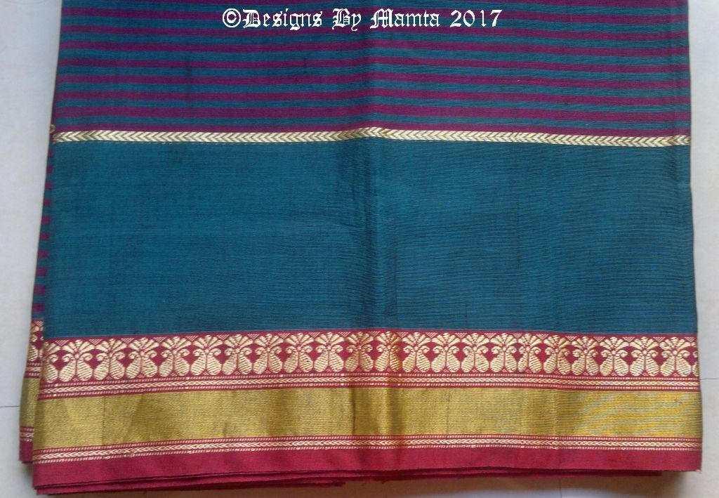 Teal Peacock Blue Purple Indian Sari Fabric By The Yard