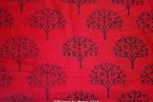 Tree Of Life Cherry Blossoms Chanderi Silk Fabric