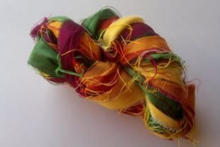 Tulip Meadows Sari Silk Yarn Ribbons