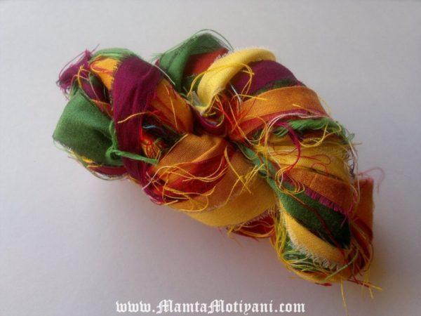 Tulip Meadows Sari Silk Yarn Ribbons