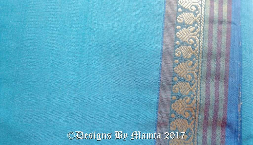 Turquoise Blue Indian Saree Fabric By The Yard Designer