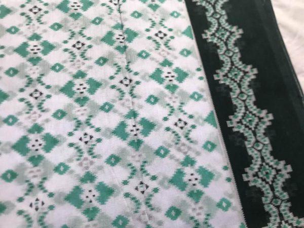 Turquoise Blue Muslin Sari Fabric