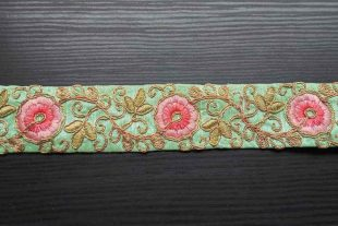 Turquoise Blue Pink Floral Trim