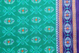 Turquoise Floral Print Sari Fabric