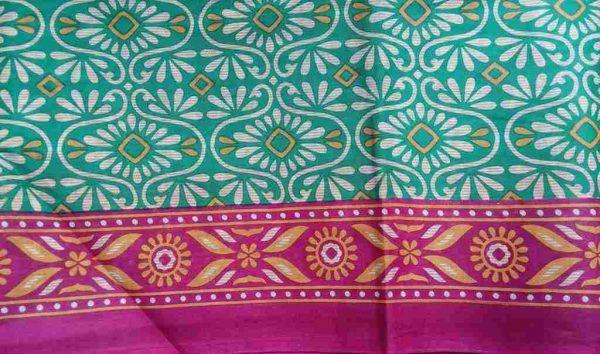 Turquoise Fuchsia Floral Sari Fabric
