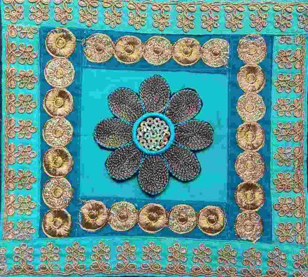 Turquoise Gold Quilt Block