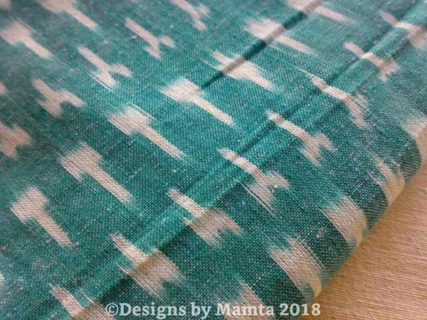 Turquoise Green White Ikat Fabric