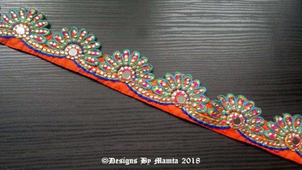 Turquoise Orange Peacock Feather Trim