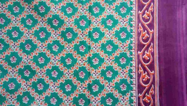 Turquoise Print Floral Sari Fabric