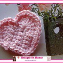 Valentine Love Heart Applique Crochet Pattern