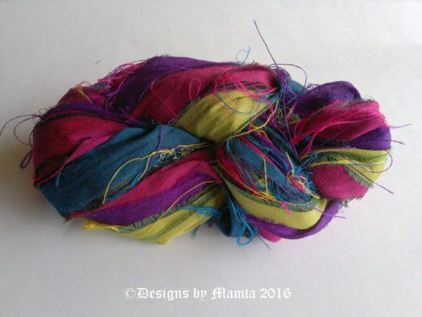 Vibrant Recycled Sari Yarn Ribbon