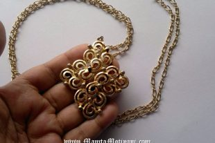 Vintage Costume Necklace With Diamond Shape Pendant